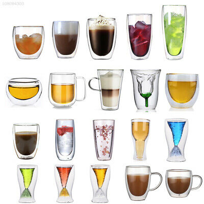 50-600ml Clear Double Wall Glass Tea/Whisky/Coffee/Wine/Beer Cups Glasses US