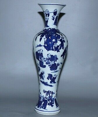 Vase,Chinese Exquisite Blue and white porcelain vase height 30.3cm