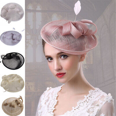 Lades Fascinator Wedding Hatinator Races Formal Occasion Hats Feather Western