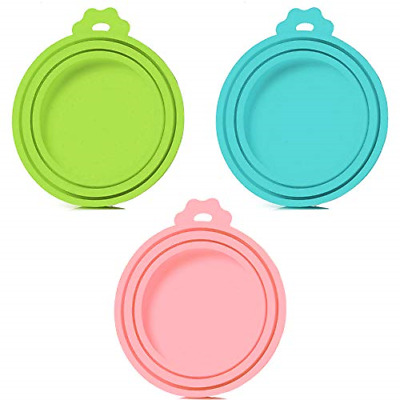 3 Pack Pet Food Can Cover Universal Silicone Cat Dog Food Can Lids  BPA Free NEW
