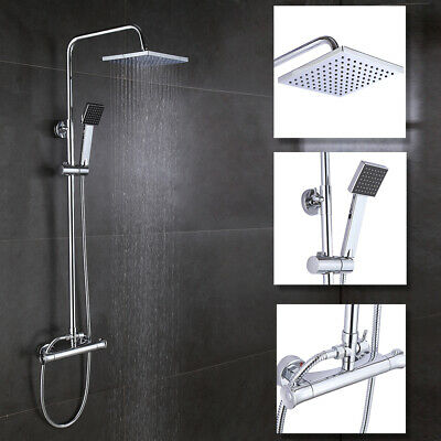 """8"""" Thermostatic Shower Mixer Square Chrome Bathroom Exposed Twin Head Valve Set"""