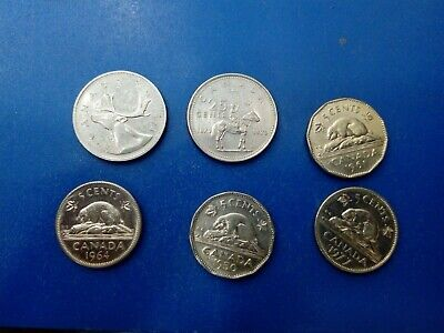 CANADA COIN 2x 25 CENTS 5 CENTS 1950,1961,1964,1977   #T2044