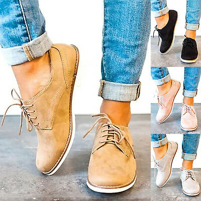 Women Oxfords Lace Up Flat Shoes Work Office Loafers Ladies Casual Brogue Boots