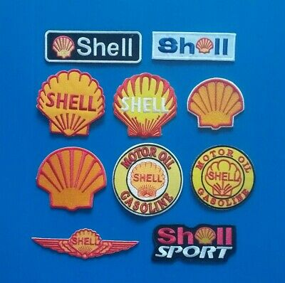 10 LOT SHELL GAS & OIL COMPANY COLLECTIBLES Iron Or Sewn On Patches Free Ship