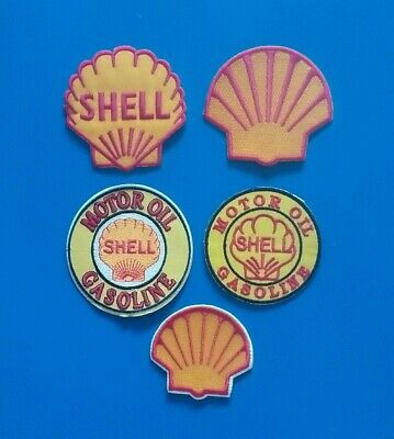 5  LOT SHELL GAS & OIL COMPANY COLLECTIBLES Iron Or Sewn On Patches Free Ship