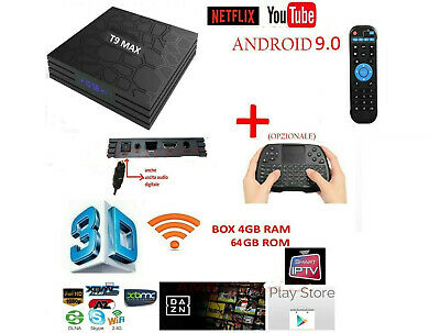 Smart TV BOX T9 MAX Android 9.0 4GB RAM 64GB 4K IPTV 5 CORE QUAD WIFI dazN TASTI