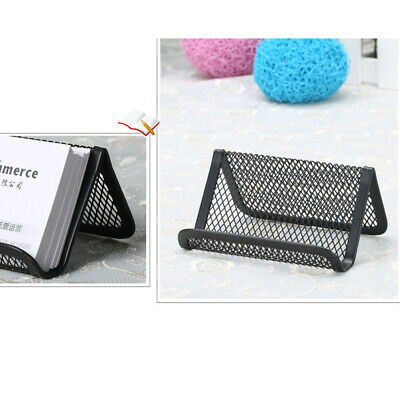 UK Stylish Metal Mesh Business Card Holder Organizer Stand For Office Desk Table