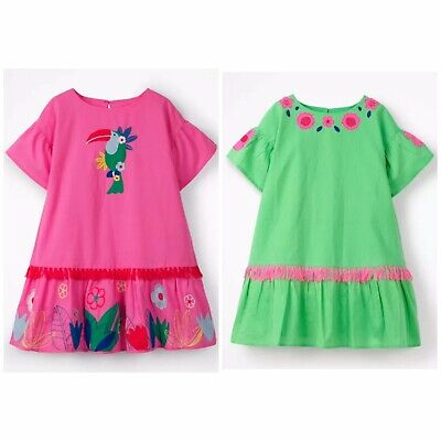 Boden Tropical Woven Applique Dress Ex Mini Boden Girls  Age 2-12 Years RRP £40