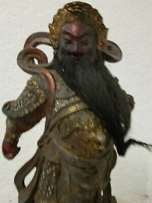 "12"" Antique Old Chinese Wood lacquerware Guan Gong Yu Warrior God Statue"