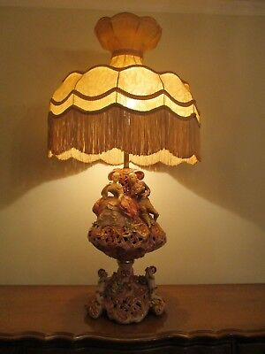 Omg The Best Large Capodimonte Lamp W/ Cherubs Figurine Vintage Awesome Shade