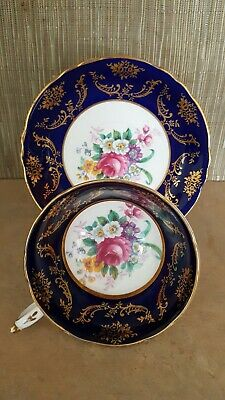 Paragon Teacup And Saucer 1952-1960 Fine Bone China England Cobalt Blue