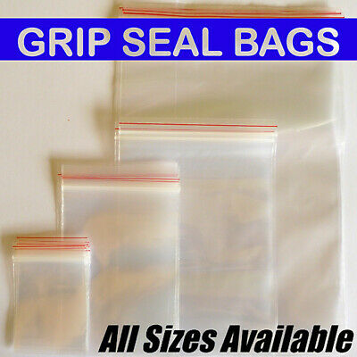 Grip Seal Bags Zip Lock Self Resealable Clear Polythene Poly Plastic *All Sizes*