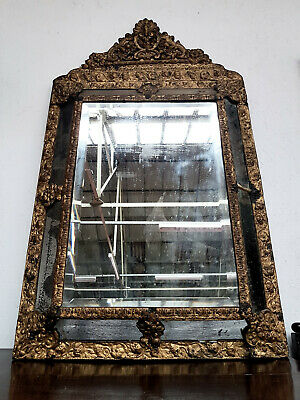 Antique 19th Century Gilt Metal Framed Beveled Mirror