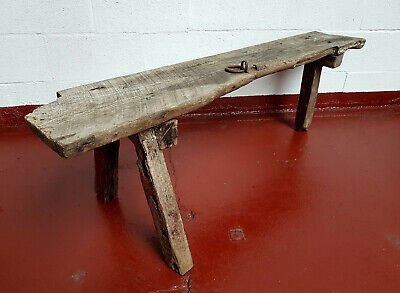 Antique Rustic Elm Pig Bench Vintage Farmhouse Style Wooden Bench