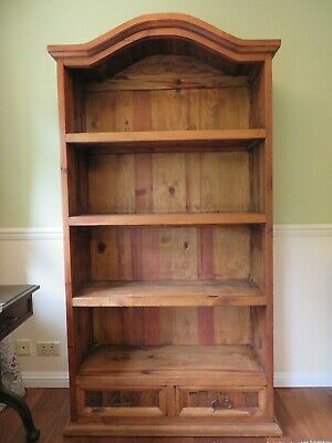 Large Solid Oak Bookcase with Two Drawers French Rustic Wood Display Cabinet