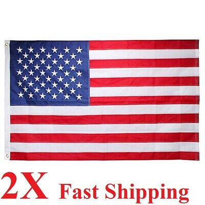 2 packs 3x5 Ft American Flag w/ Grommets  USA United States of America ~US Flags