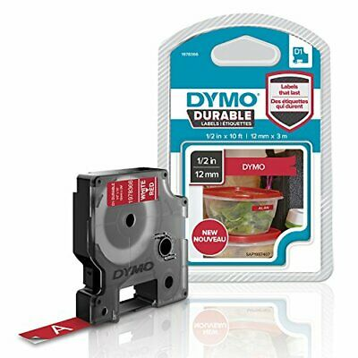 DYMO D1 Durable Labeling Tape for LabelManager Label Makers, White Print on Red