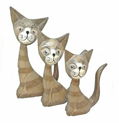 Fair Trade Hand Carved Hand Painted Wooden Cat Sculpture Ornament 20cm/16cm/13cm