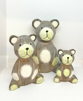 Fair Trade Hand Carved Hand Painted Wooden Teddy Bears Family Sculpture Ornament