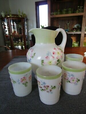 Consolidated Glass Coreopsis Apple Blossom Water Pitcher & Tumbler Set 5 Pcs