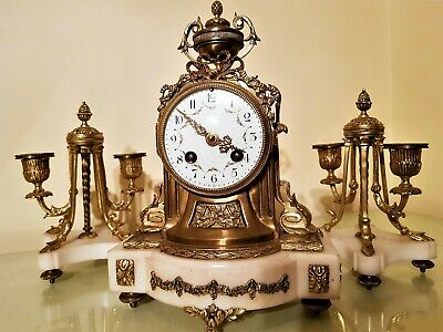 French Louis XVI Style Bronze and Marble Mantel Clock Garniture.