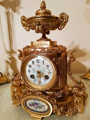 Antique French Ormolu & Sevres Porcelain Mantel Clock