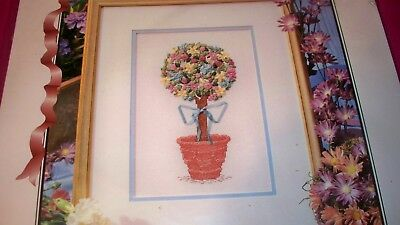 "(NEW) Vintage!  True Colors.. Ribbon Embroidery Kit SRK 0008 -"" FLORAL TOPIARY"""