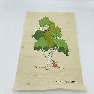 Hand Painted Needlepoint Canvas P Juell Designs Reading Under a Tree Book Red