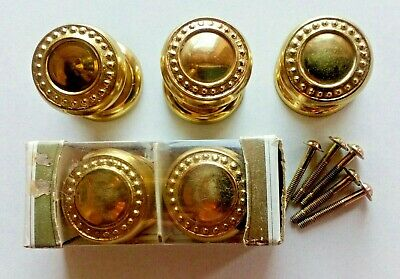 Vtg 5 Solid Brass Knobs Pulls Handles Door Gainsborough Hardware Dresser Cabinet