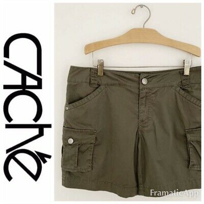 CACHE Women's Shorts Size 8 Stretch Army Green Side Flap Pockets