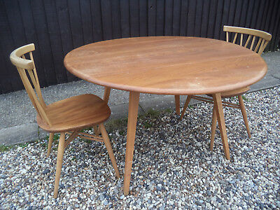 Ercol Beech & Elm Drop Leaf Dining Table + 2 Windsor Candlestick Lattice Chairs