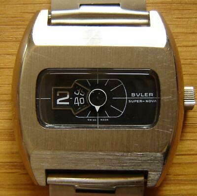 Vintage 1970s Buler Super Nova Jump Hour Digital Direct Read Wind Up Watch - FWO