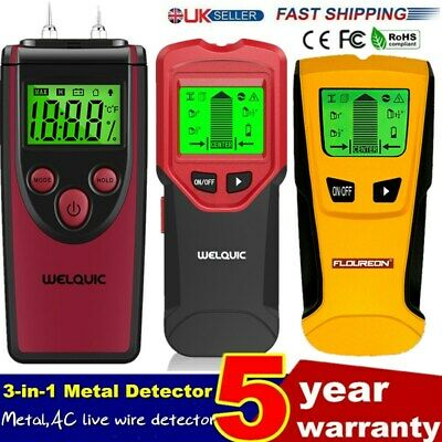 3-in-1 WALL STUD CENTER FINDER METAL LIVE WIRE DETECTOR COPPER CABLE LED DISPLAY