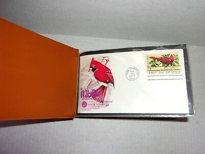 100 First Day Issue Stamps from the 1970s in Faux Leather Holder Marked Book IIl