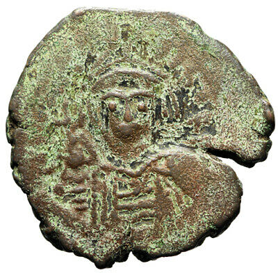 CERTIFIED AUTHENTIC Byzantine Bronze Coin of Maurice Tiberius Dated 591/2 AD
