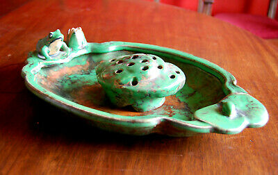 """Large 15"""" Weller Pottery Frog on Lily Pad Bowl with Original Floral Frog Insert"""