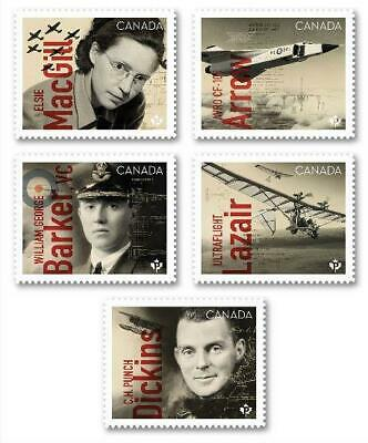 "2019 Canada 🍁 CANADIANS IN FLIGHT SERIES 🍁 All 5 ""P"" Stamps - MNH"
