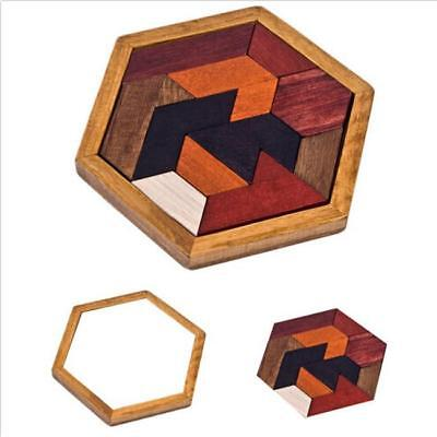 Children Wooden Hexagonal Puzzle Creative Geometry Puzzles Jigsaw Toy SW