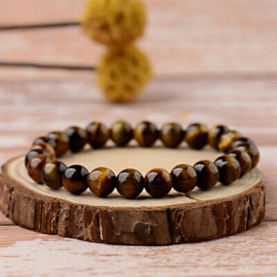 New 8mm Natural Stone African Roar Natural Tiger's Eye Round Beads Bracelets