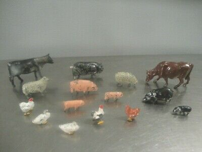 Vintage Lot of 15 Cast Metal Farm Animals Made in England