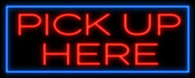 """Pick Up Here Triangle Bar Neon Light Sign 32""""x13"""" Artwork Poster Lamp"""