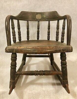 Antique Stenciled Painted Wood Child's Rocker Rocking Chair