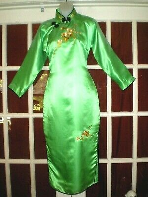 Fabulous Old Chinese Lt Green Cheongsam Long Dress w/Embroidered Flowers Sz L