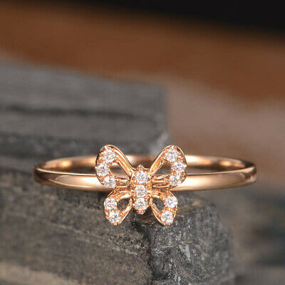 Butterfly Shaped Rose Gold Filled Cubic Zirconia Wedding Bridal Ring Size 6-10