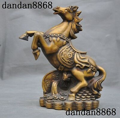 Old China Ancient bronze Fengshui auspicious Animal Zodiac Success horse statue
