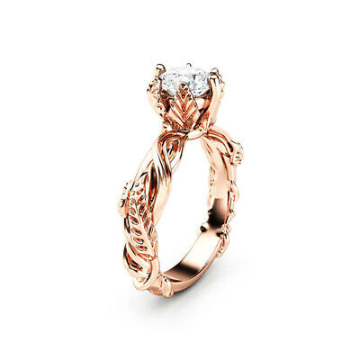 Fine Women Jewelry Rose Gold Filled Cubic Zirconia Wedding Bridal Ring Size 6-10