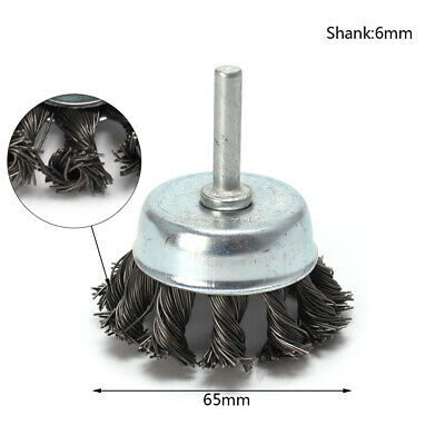 65mm Metal Knot Wire Wheel Cup Brush For Surface Cleaning Rust Remover 6mm Shank
