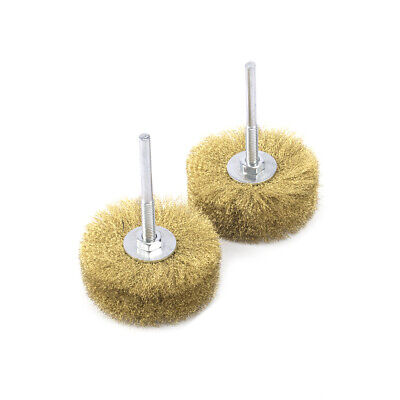 2Pcs 80mm Copper Wire Wheel Grinding Brush With 6mm Shank Rotary Buffing Tool