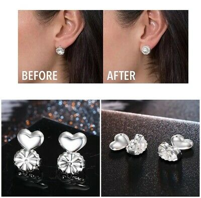 2 Pairs EARRING BACKS Lifts Stretched Lobes Heavy Earrings Support