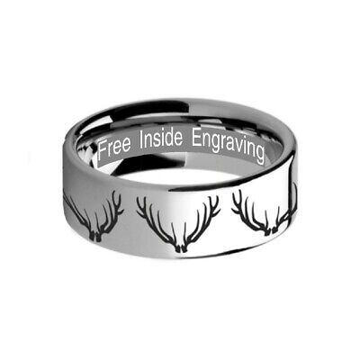 d8c9a9fc98fa9 DEER ANTLER RING Tungsten Carbide Mens Hammered Wedding Band/Gift ...